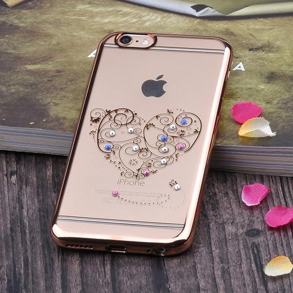 (ピンクゴールド) レディース用 4.7インチスマホカバー カバー ラインストーン付きオープンハート絵柄 防塵 硬質ケース 携帯保護ケース TPU Infinite U iPhone6/6sケース クリアシリコン