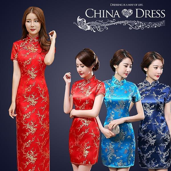e4b26a082e8d9 サイズ ロングM. (FUPUSUN) チャイナドレス 赤 コスチューム ハロウィン 衣装 コスプレ レディース シルク