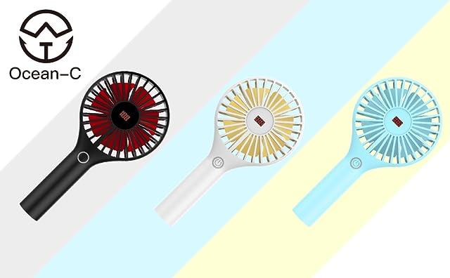 Ocean-C 携帯扇風機 (LEDディスプレイ備え 電量/風量確認可) 手持ち扇風機 風量3段階調 USB扇風機 小型USBファン