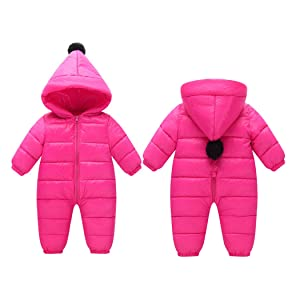 47746e9f7c02c ベビー ジャンプスーツ フード付き 防水 防寒 保温 軽い ファスナー 前開き便利 カバオール 冬服 暖かい 柔らかい 幼児 女の子 男の子