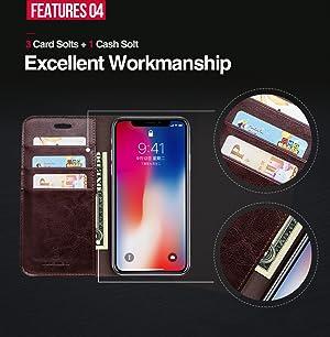 0022d849b5 Amazon | iPhone X ケース 手帳型 本革 カード収納 スタンド機能 ...