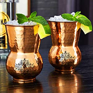 Indian Art Villa Copper Glass Tumbler, Hammer Design, Drinkware, 300 ML Each, Set of 2 Pieces