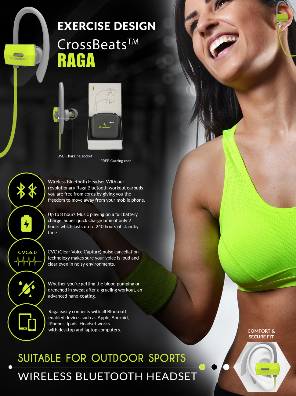 57c55e8a81 CrossBeats Raga IPX4 Bluetooth V4.1 Headphones with  Amazon.in ...