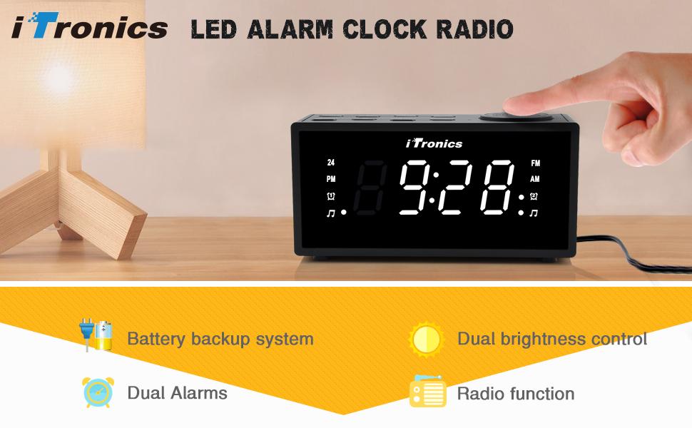 Upgraded Itronics Led Dual Alarm Clock Radio With Usb