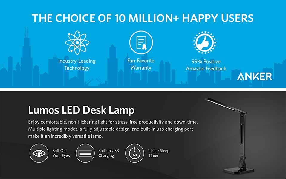 Anker Lumos Led Desk Lamp Table Lamp With Usb Charging