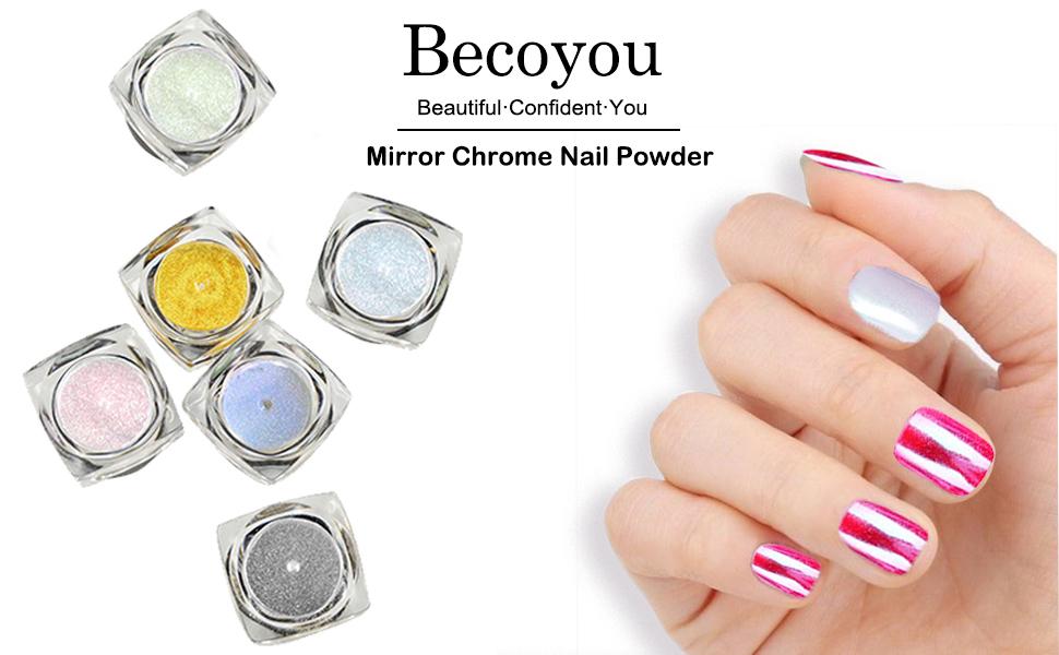 Becoyou polvere effetto specchio nail art 6 pezzi polvere glitter per unghie 6 spugna stick - Smalto a specchio polvere ...