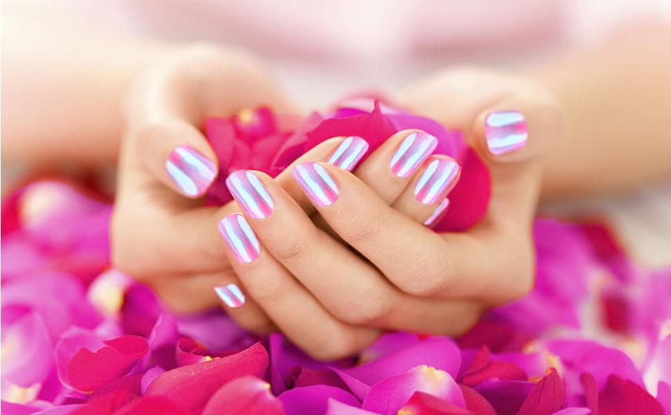 Becoyou polvere effetto specchio nail art 6 pezzi polvere glitter per unghie 6 spugna stick - Polvere effetto specchio unghie ...