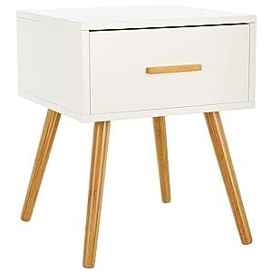 LOMOS® Comodino Levi in legno di colore bianco con un cassetto ...