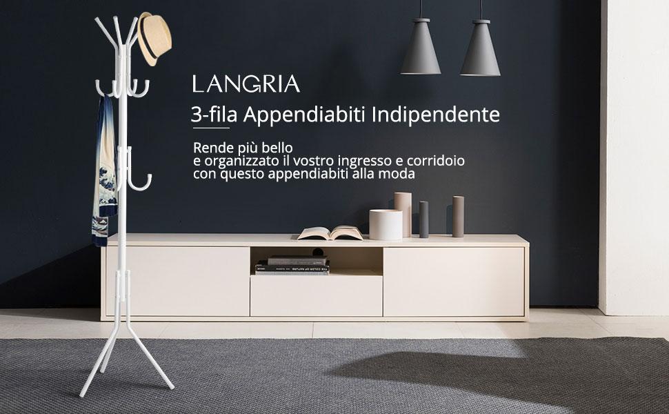 LANGRIA Appendiabiti 11 Hook Ingresso Attaccapanni in Treppiede per ...