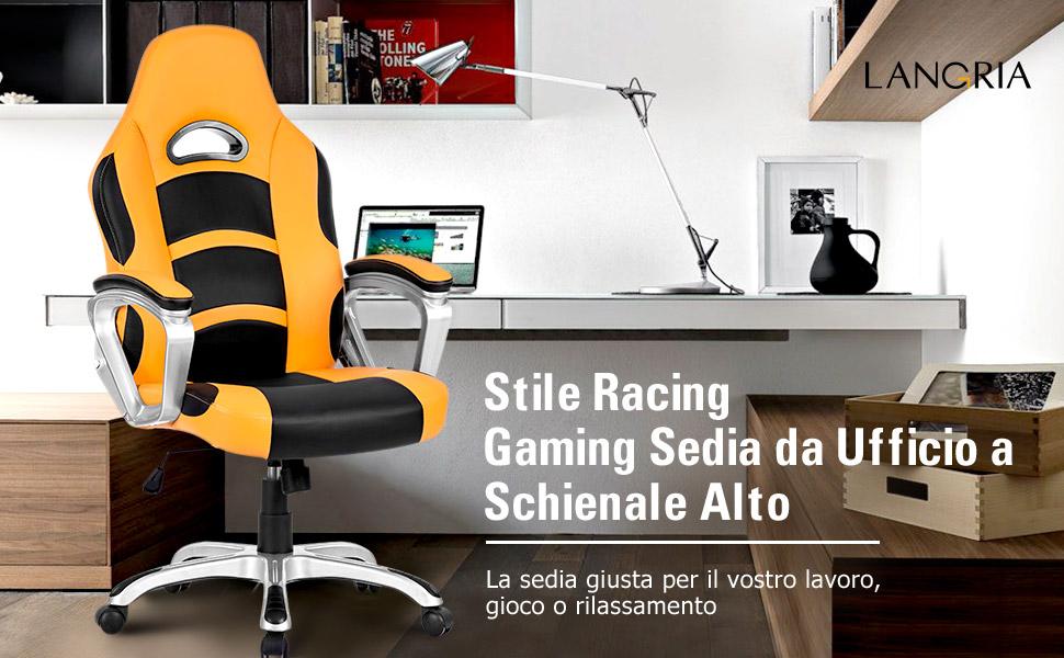 Sedie A Rotelle Schienale Alto : Langria sedia da gioco per computer con schienale alto seduta