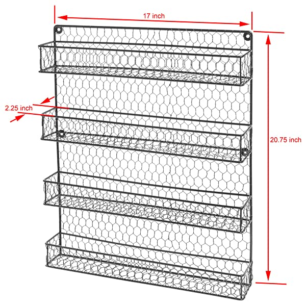 spice cabinets for kitchen 4 tier black country rustic chicken wire 5648