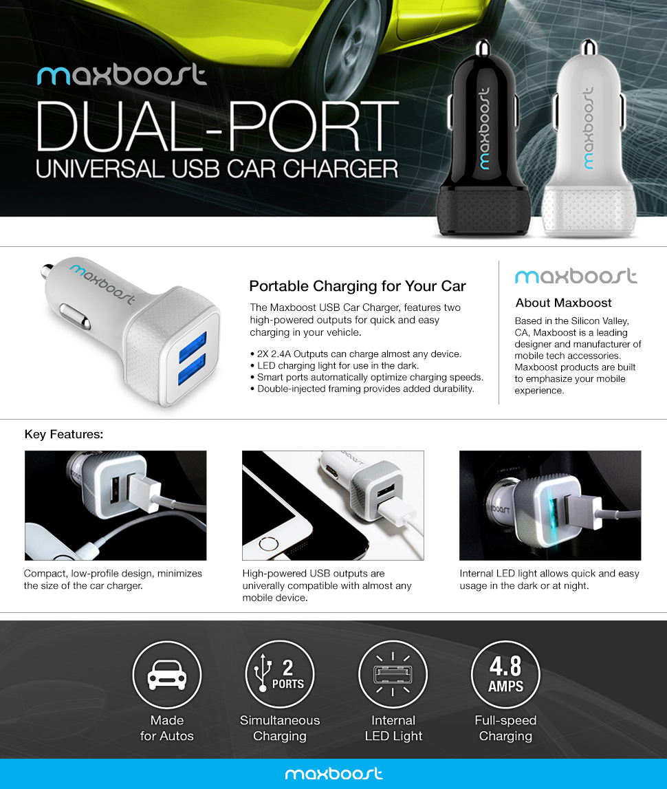 25% OFF - Maxboost 4.8A/24W 2 Smart Port Car Charger Best Proposal - QgdKRoJQJum
