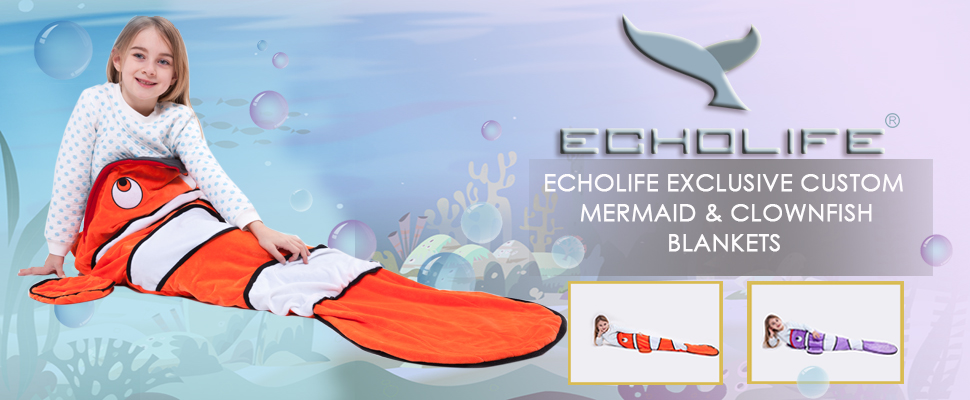 Echolife clown fish tail blanket soft fleece for Snuggie tails clown fish