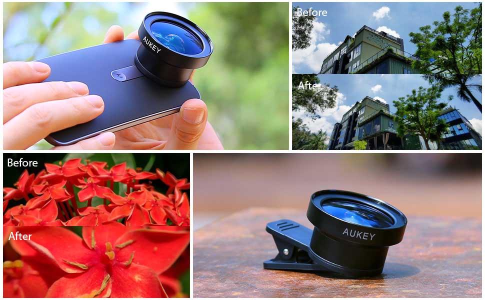 Amazon.com: AUKEY Ora iPhone Camera Lens, 0.45x 120° Wide