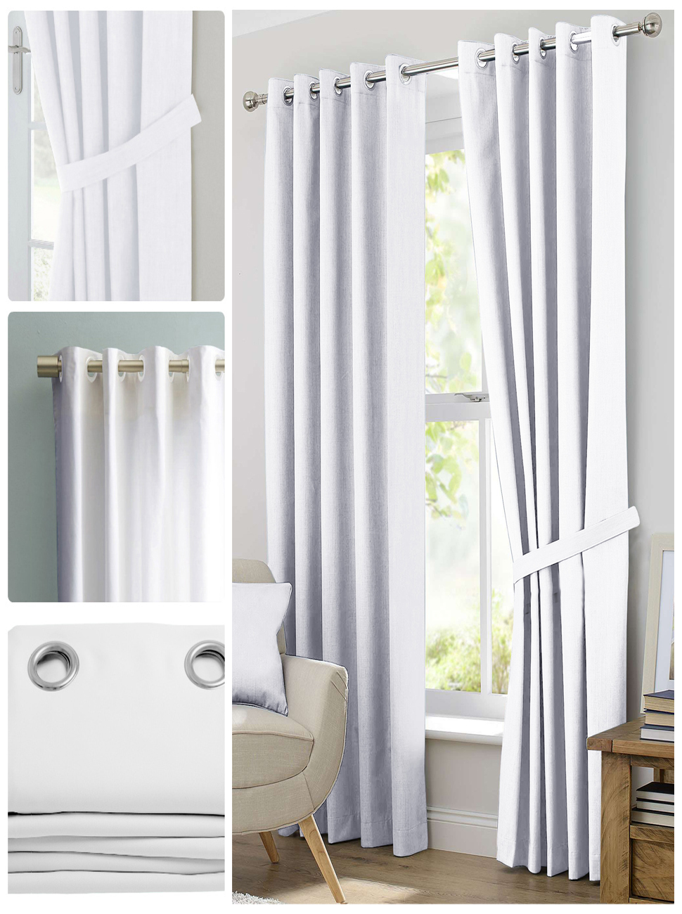 Blackout Room Darkening Curtains Window Panel Drapes Grey Color 2 Panel Set 46