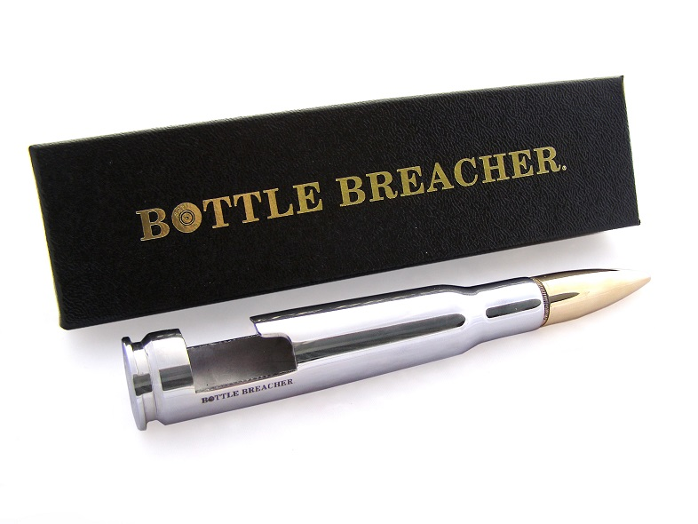 50 caliber bmg chrome bottle breacher bottle opener with gift box made in the usa. Black Bedroom Furniture Sets. Home Design Ideas