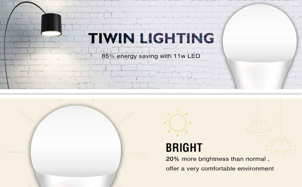 TIWIN A19 E26 LED Light Bulbs 100 watt equivalent (11W), Daylight