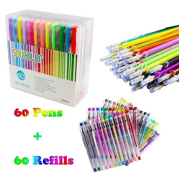 Amazon.com: Soucolor 120 Coloring Gel Pens Set, 60 Colored Pens ...