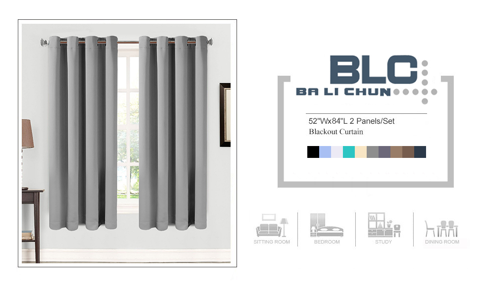 Space Grey Blackout Curtains 2 Panles Thermal Insulated Grommets Drapes for Bedroom/ Living Room
