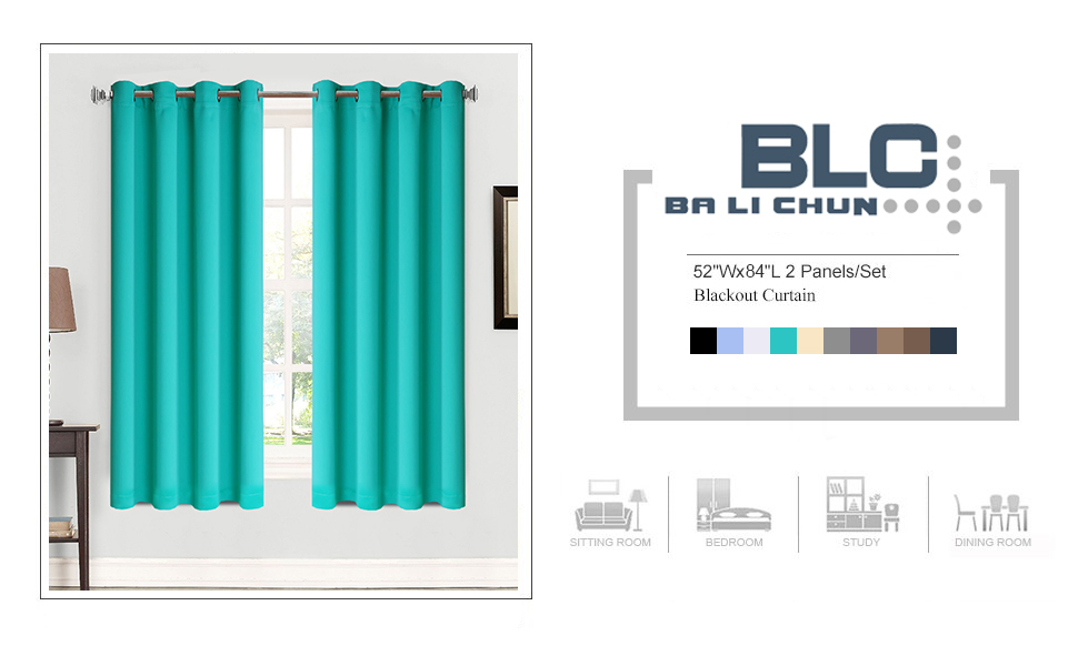 Blackout Curtains Thermal Insulated Grommets Drapes Turquoise Green