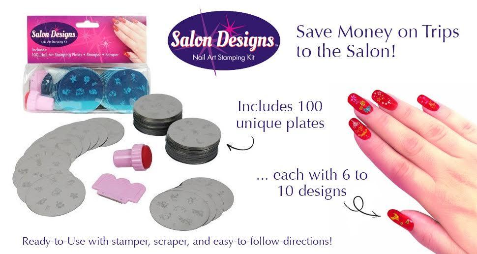 Salon Designs Nail Art Stamping Kit : Nail art stamping kit manicure plate set with polish stamper and