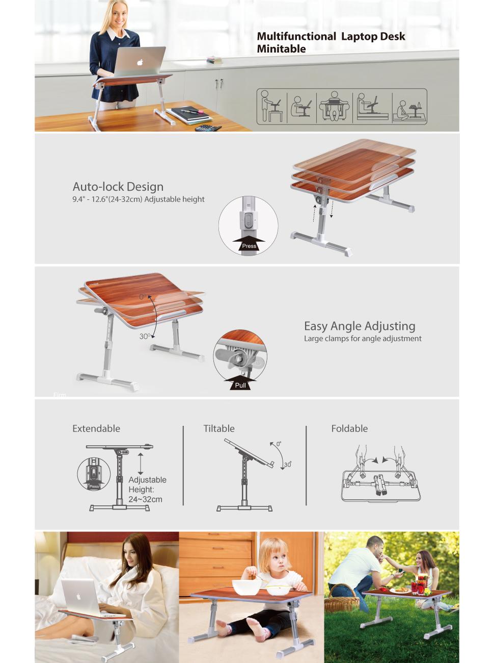 Amazon Com Avantree Quality Adjustable Laptop Table Bed
