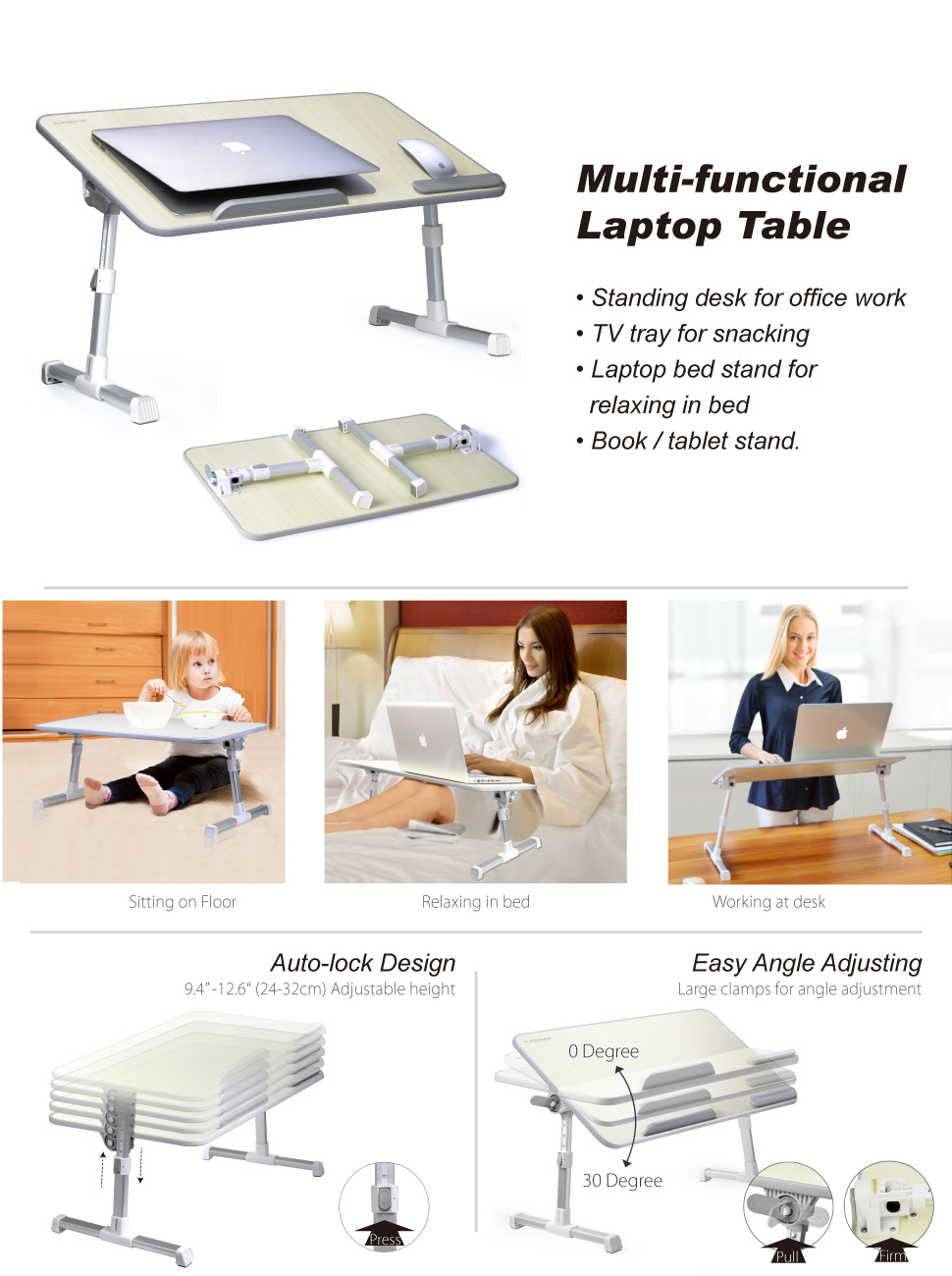 Laptop bed table tray - Avantree Large Size Laptop Table
