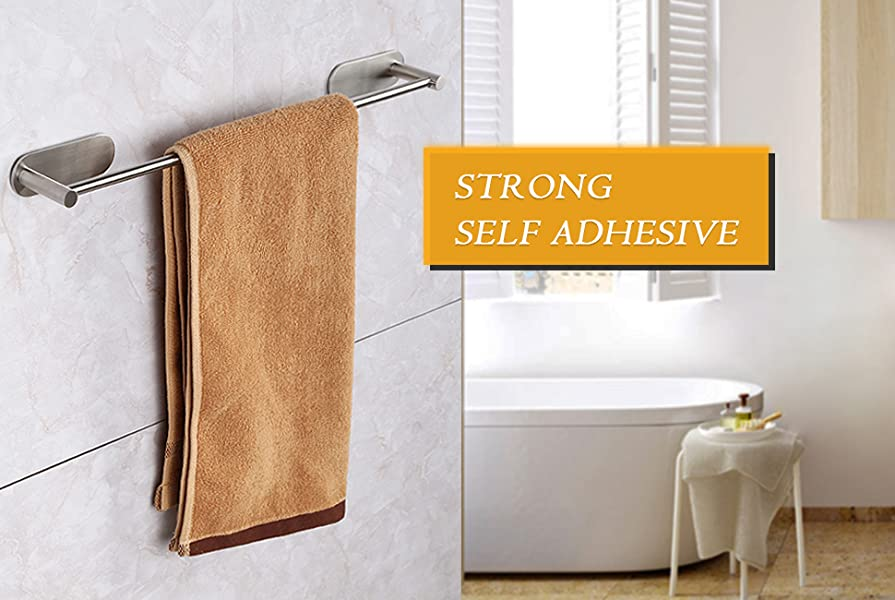 Amazon.com: HOMEIDEAS 3M Self Adhesive Towel Bar 15.6-Inch