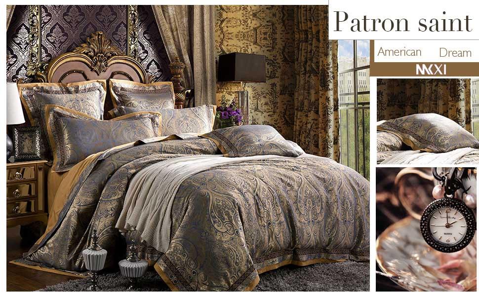 MKXI Gorgeous Paisley Bedding European Luxury Duvet Cover Set Sateen Cotton,King Set