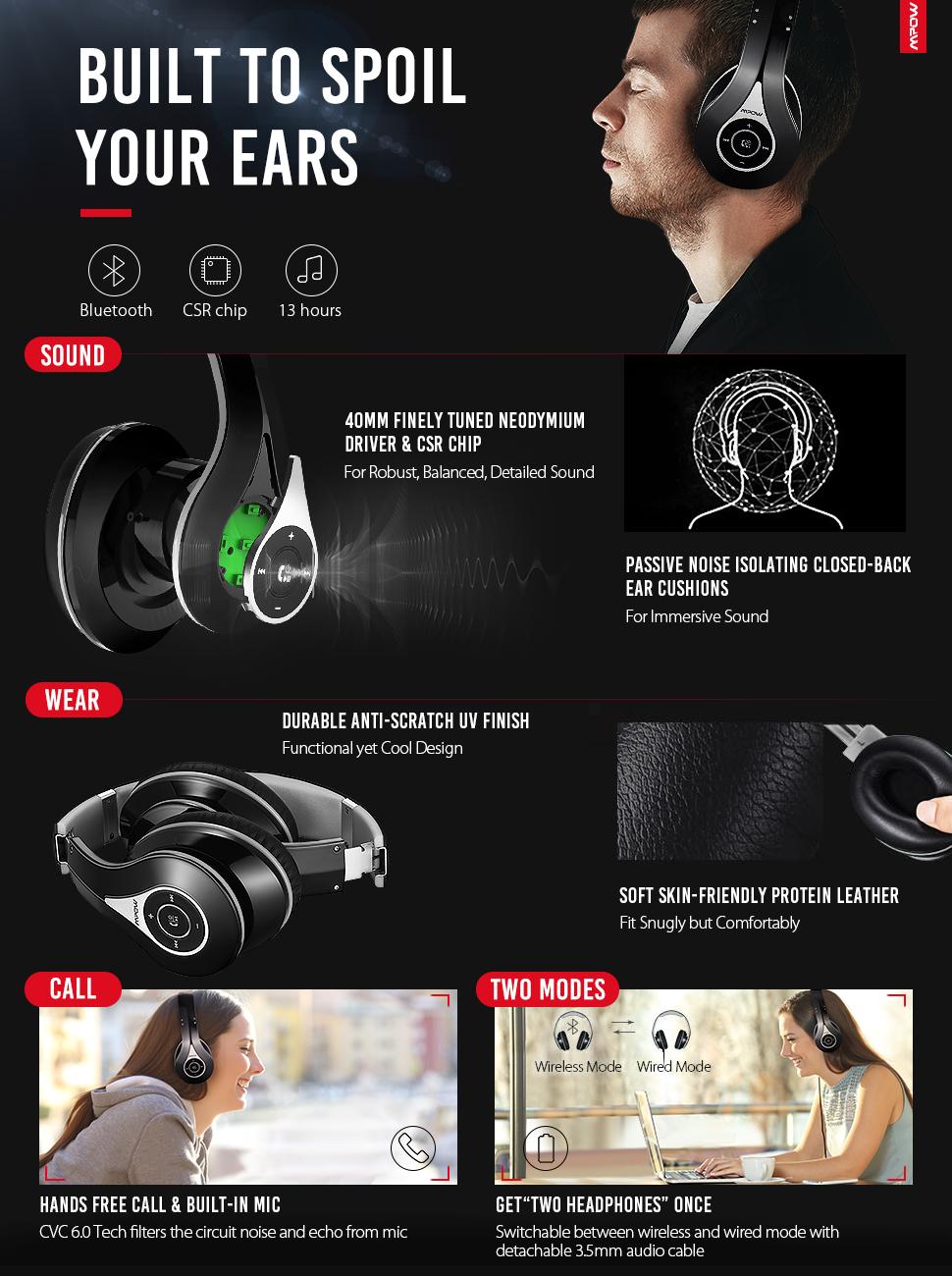 mpow bluetooth headphones over ear manual