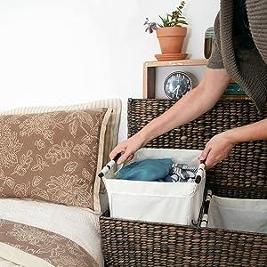 Designer Wicker Laundry Hamper With Divided