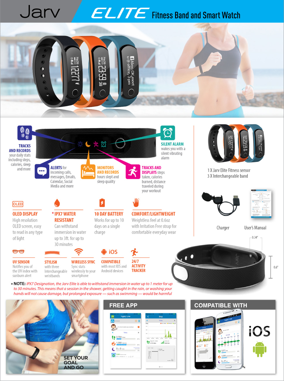 The Jarv Elite Bluetooth Activity/Fitness band and Smart Watch is the
