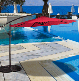 This 10 Feet Offset Patio Umbrella With Crank Is Ideal For Hanging Over  Outdoor Dining Tables, Conversation Seating, Or Pool Or Spa Areas.