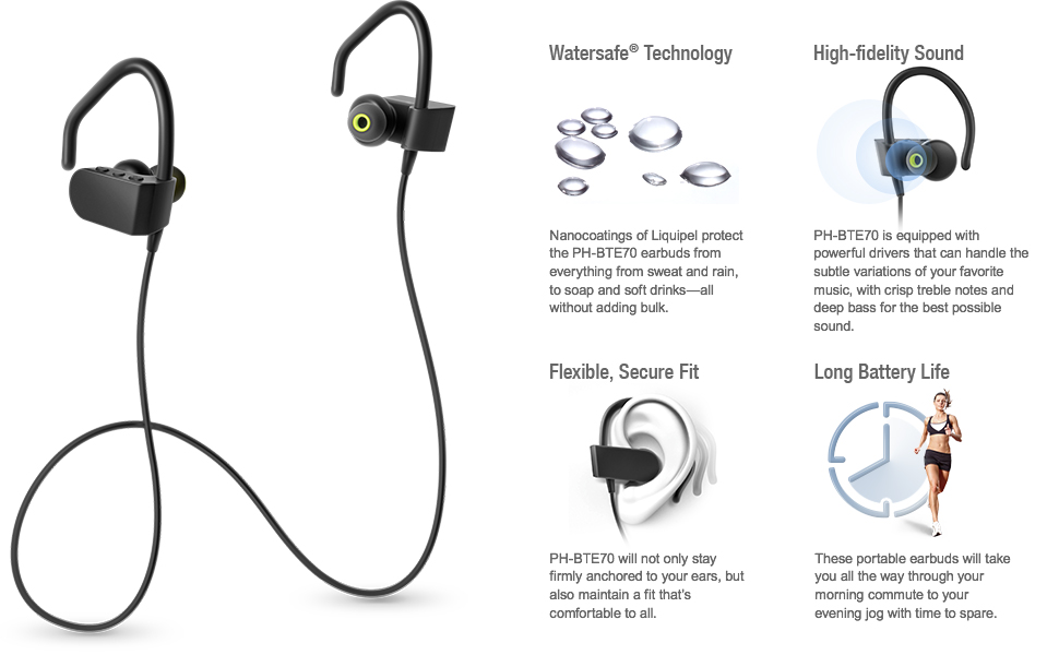 0db99c74daf The Photive PH-BTE70 wireless earphones feature built-in controls that  allow you to access your music directly without reaching for your phone.