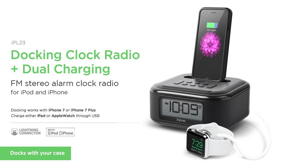 ihome ipl23v2 stereo fm clock radio with lightning connector and usb charging black. Black Bedroom Furniture Sets. Home Design Ideas