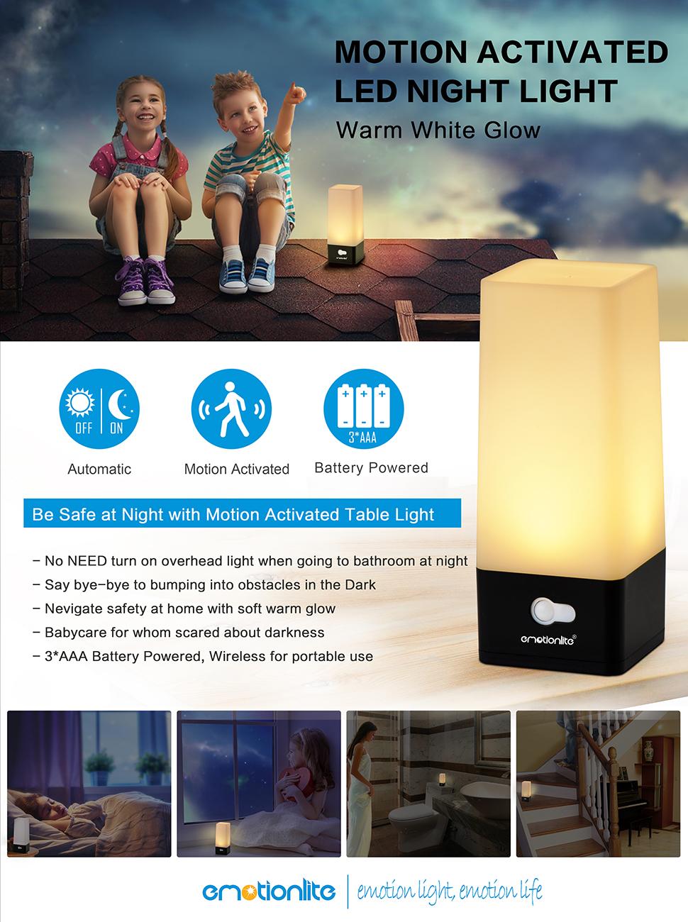 Led night light warm white - Emotionlite Wireless Pir Motion Sensor Table Lamp Led Battery Powered Hallway Night Light