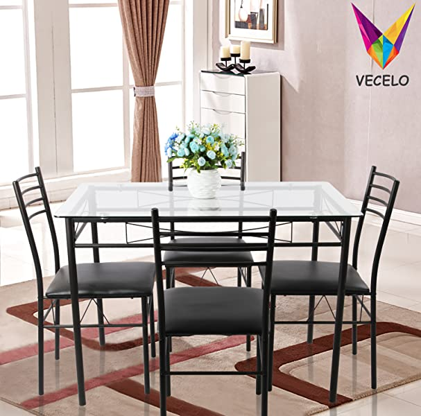Kitchen Table And Chairs Amazon: Amazon.com: VECELO Dining Table With 4 Chairs