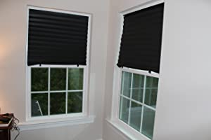 Temporary Blinds In Simple Trick : Instant Blackout Temporary Pleat Paper Shades, Black, Quick Fix & Easy ...