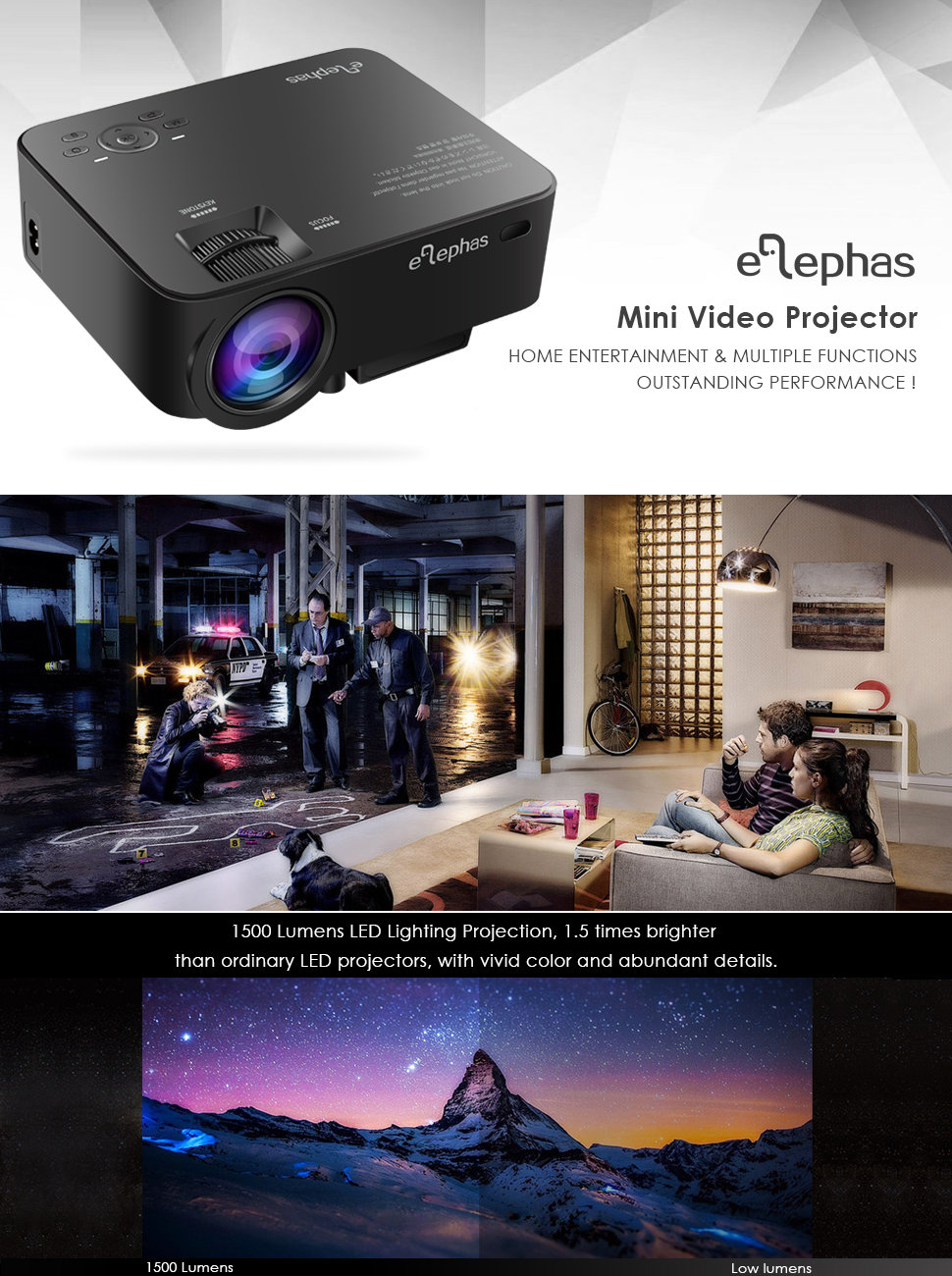 amazon com elephas 1500 lumens led video home projector lcd