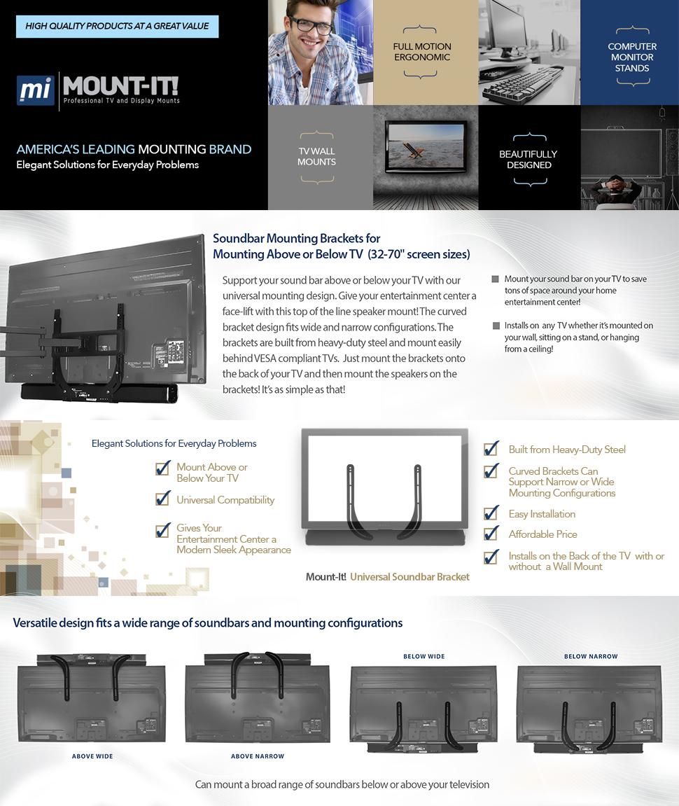 amazon com mount it soundbar mount universal sound bar tv