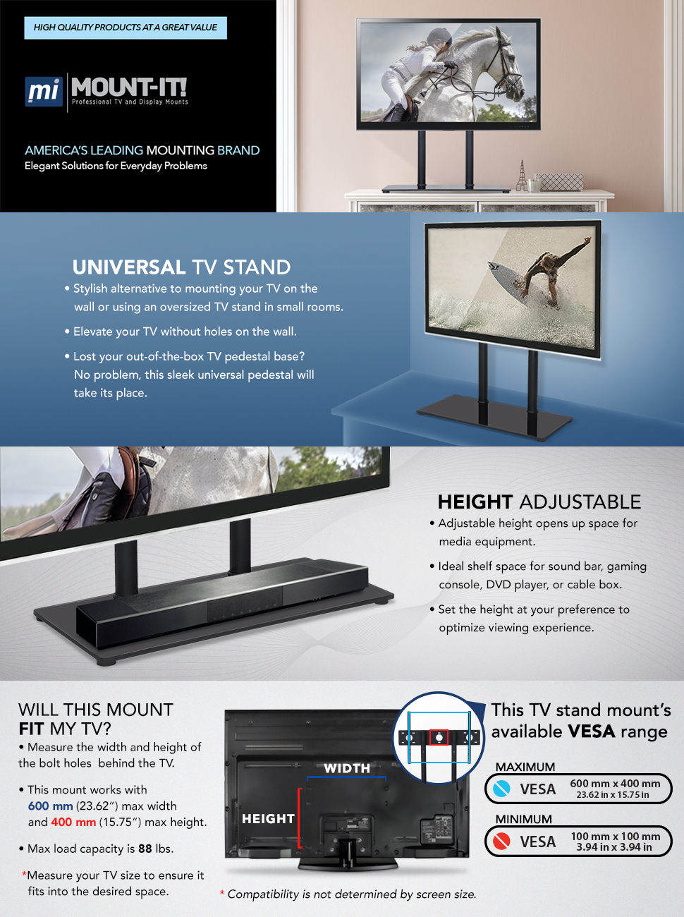 Universal Tabletop TV Stand. Amazon com  Mount It  Universal Tabletop TV Stand Base  Height