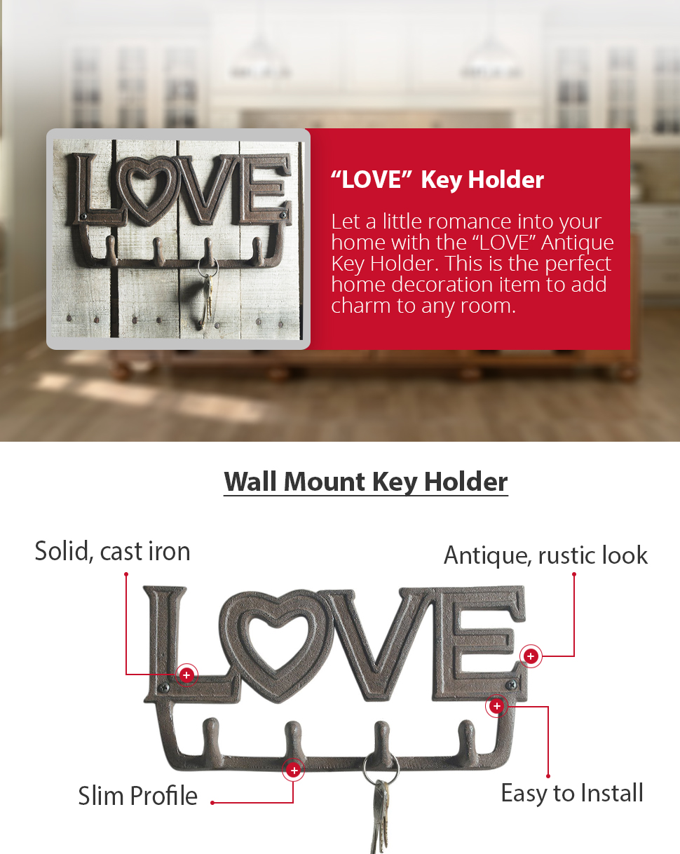 Wall Key Holder Amazoncom Love Antique Key Holder By Comfify Wall Mount Cast