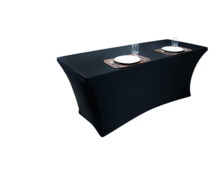 houseables fitted tablecloth cover 6 ft black table cloth skirts elastic ebay. Black Bedroom Furniture Sets. Home Design Ideas