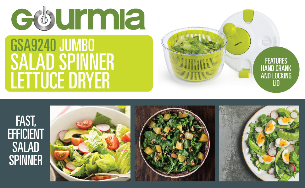 The Jumbo Salad Spinner From Gourmia Is A Home Food Prep Device That Quickly Dries Your Freshly Washed Lettuce Spinach Cabbage Vegetables