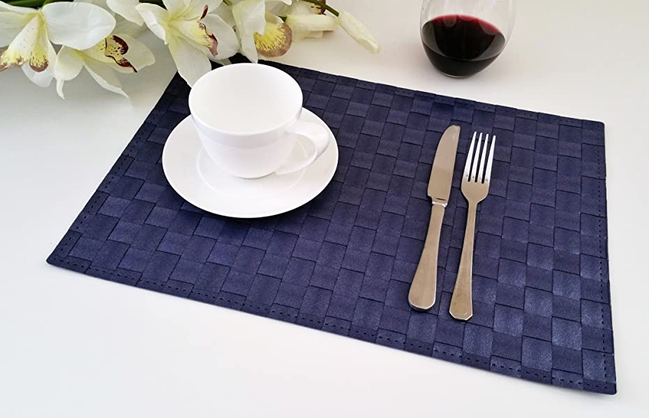 decorative and chic quality woven place mats for kitchen table resistant to grease dirt and stain washable wipe with ease and heat resistant - Kitchen Table Mats