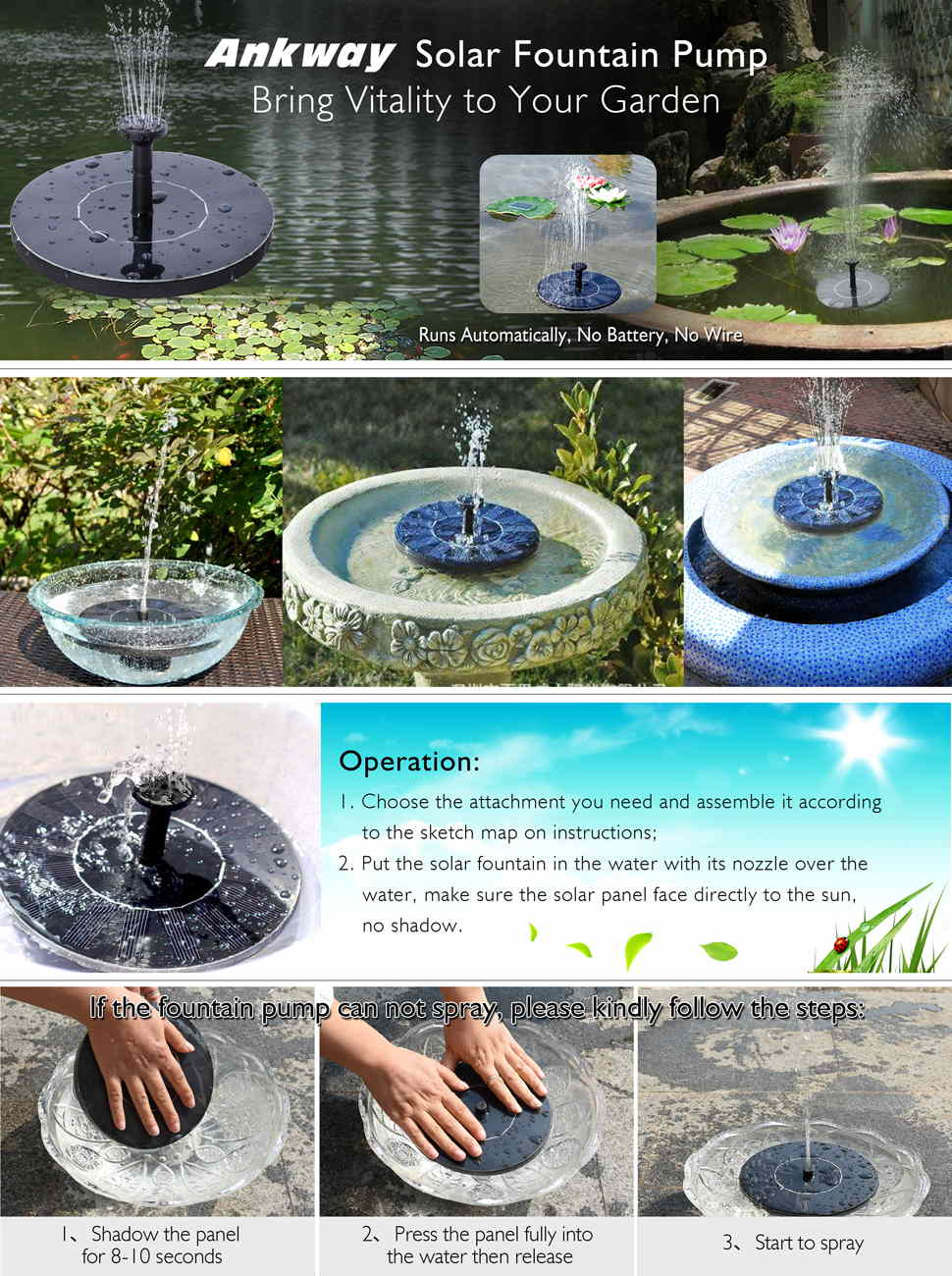 External water fountain pump - Now It S Getting Warmer And Warmer Ankway Fountain Pump Is A Great Choose To Attract The Birds To Bring Your Garden Vitality