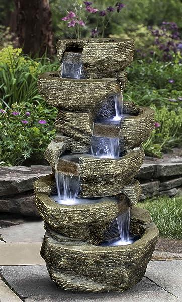 Amazon Com Zenvida Tiered Rock Waterfall Outdoor Garden