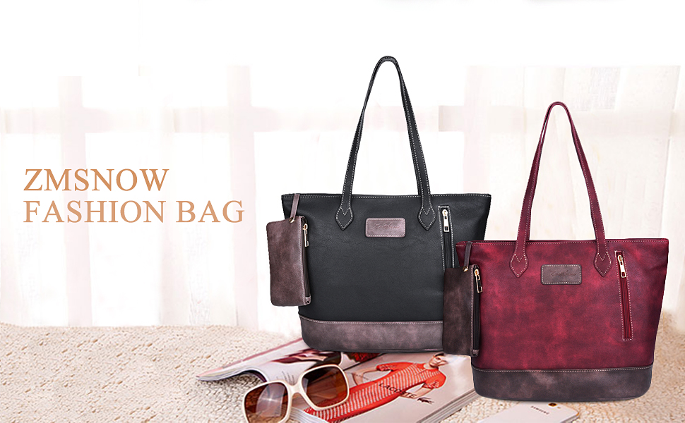 Amazon.com: ZMSnow Designer PU Leather Tote Handbags Mix Color ...