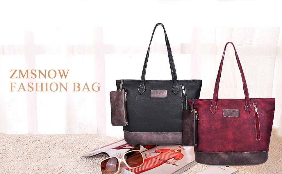 Amazon.com: ZMSnow Designer PU Leather Tote Handbags Mix Color ...