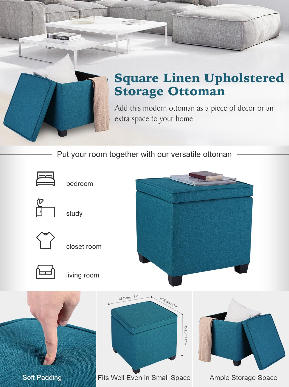 Keeping your personal essentials or household items organized yet saving  space shouldn't be a hassle to do, why not just try LANGRIA storage ottomans ? - Amazon.com: LANGRIA Living Storage Ottoman Seat Bench Footrest